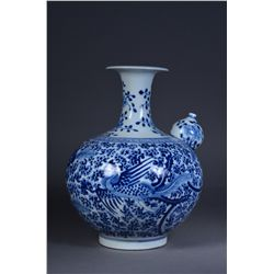 Large Chinese Blue & White Tea Pot Double Rings