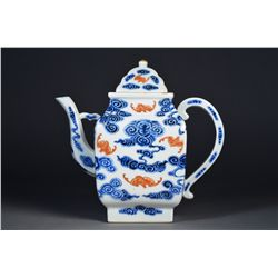 Chinese Wu Fu Blue & White Tea Pot Xuantong Period