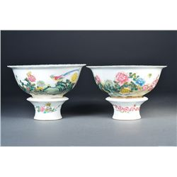 Pair Chinese Famille Rose Peony Bowls Qianlong