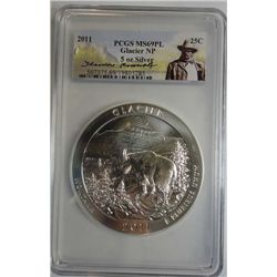 2011 GLACIER NP 5 OZ .999 SILVER PCGS MS-69PL AMERICA THE BEAUTIFUL SERIES