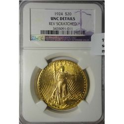 1924  $20 GOLD   NGC unc scratched