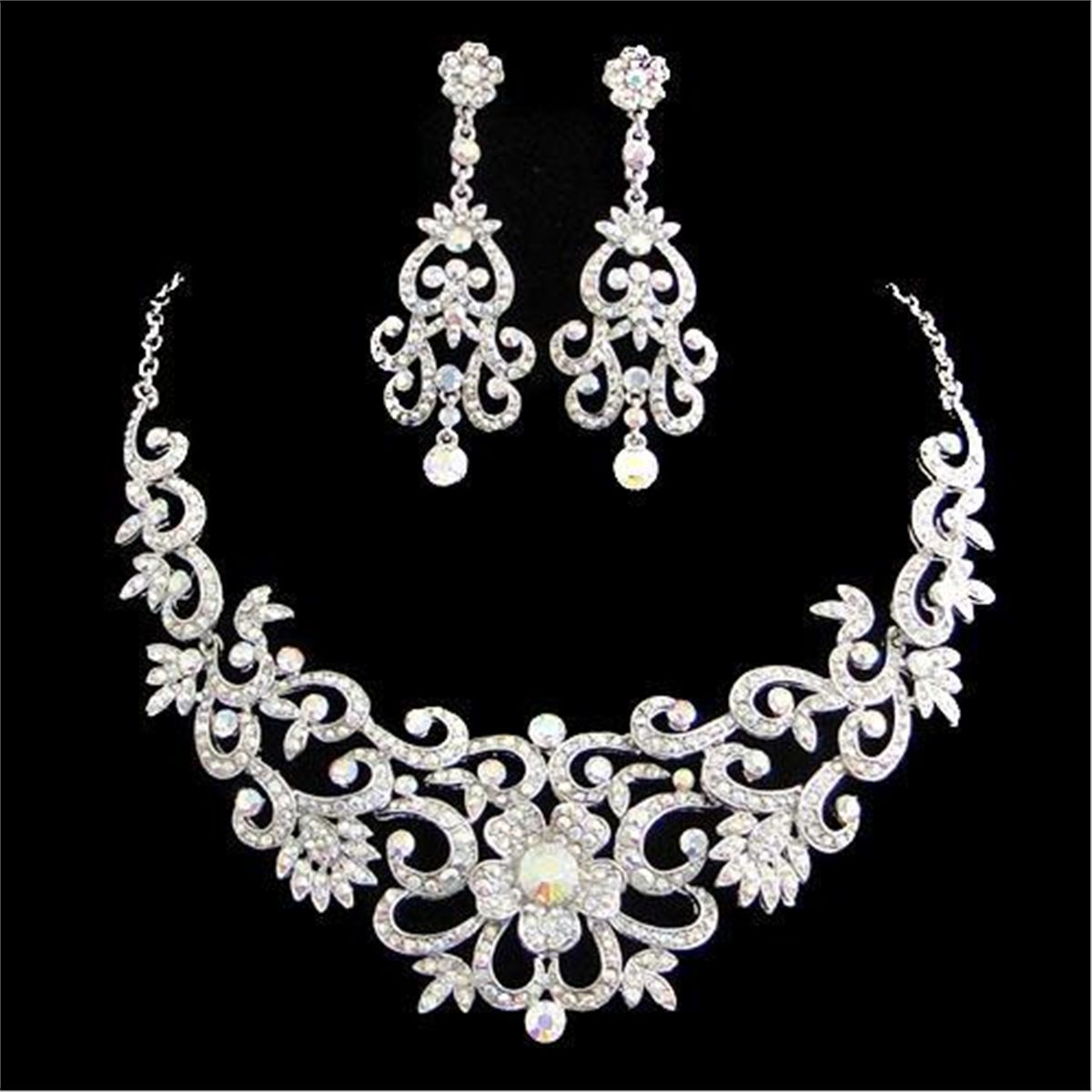 Intricate Floral Design Swarovski Crystal Necklace and