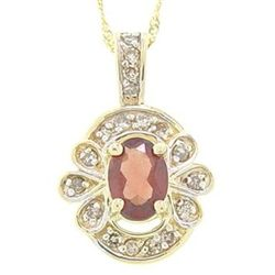 1 Ctw Garnet &amp; Diamond Pendant