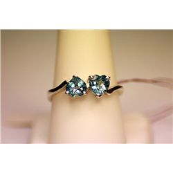 Lady's Fancy Plt HEART Shape Royal Blue Topaz Ring