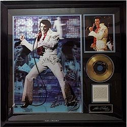 Elvis   Giclee with Gold Record