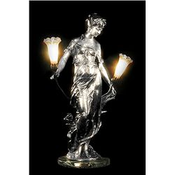 Original Fine Silver Sculpture - Diane Lamp by Moreau