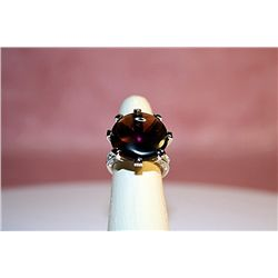 Lady's Sterling Amethyst & White Sapphire Ring