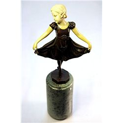 Ballet Dancer - Bronze and Ivory Sculpture by Preiss