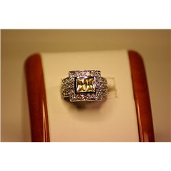 Lady's Fancy 14kt White Gold Golden Sapphire & Diamond Ring