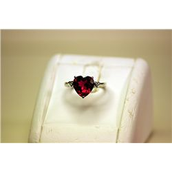 Lady's Fancy 14kt White Gold Heart Shape Lab-Ruby Ring