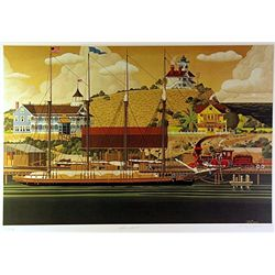 Filmore Mix Media Lithograph  Sea Port