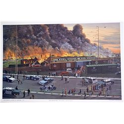 Norman Gatreau Double Signed Limited Edition Lithorgraph - Chelsea Fire - Oct 14, 1973