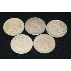 1881, 1882, 1882-S, 1889, 1921-S Silver Morgan one dollar, lot of 5