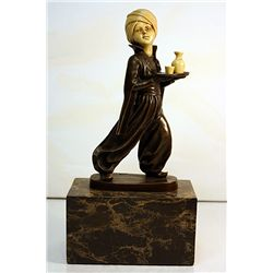 Oriental Waiter - Bronze and Ivory Sculpture by Preiss