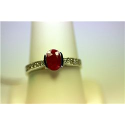 Lady's Fancy 14 Kt White Gold Ruby & Diamond Ring