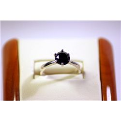 Lady's Beautiful 14kt White Gold Black Diamond Ring