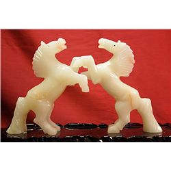 Original Hand Carved Marble  Horses  by G. Huerta