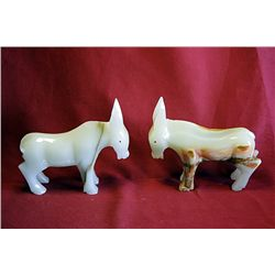 Original Hand Carved Marble  Donkeys  by G. Huerta