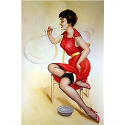 Original Oil on Canvas. Pin Up in Red I by Jimmie
