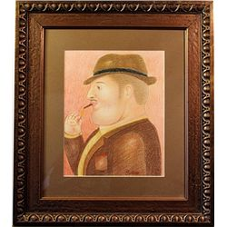 Original Color Pencil on laid paper - signed by Botero