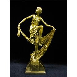 Original Limited Edition 24K Gold Layered Bronze  Art Deco Chiparus Sculpture - Jazz Dancer