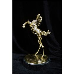 Dali Limited Edition 24K Gold Layered Bronze  Sculpture - Horse, The Temptation Of Saint Anthony