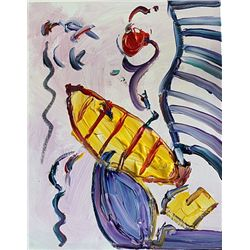 Peter Max Original Acrylic On Canvas - Love Boat-