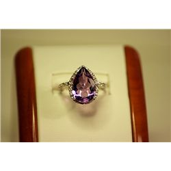 Lady's Fancy 14kt White Gold Amethyst & Diamond Ring