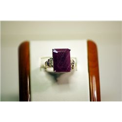 Fancy Unisex Silver Emerald Shape Red Ruby & Diamond Ring