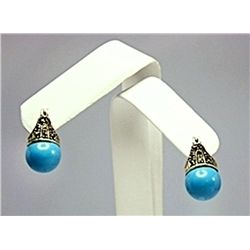Antique Style Nevada Blue Turquois Earrings