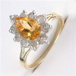 2.0 Ctw. Citrine & Diamond Ring In 10ky Gold
