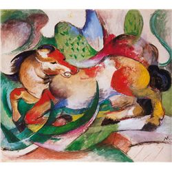 Spingendes Pferd- Marc - Limited Edition on Canvas