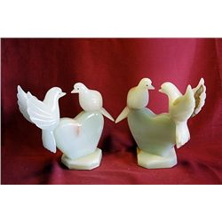 Original Hand Carved Marble  Doves on Heart  by G. Huerta