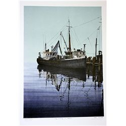 Helen Rundell Signed and Numbered Original Lithograph - Early Morning In Greenport