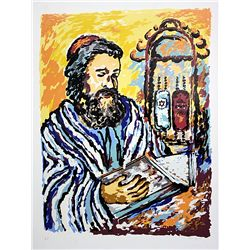 Hand Signed and Numbered Isaac Goody Lithograph - The Rabbi
