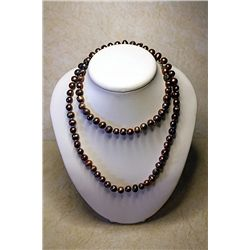 #201 - Hand Knotted Jewelry, Bronze color pearl. 8-9mm-32in all original