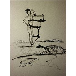 Original Hand Draw, Ink Drawing  Signed  Dali - Tortise and Gala -