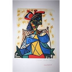Limited Edition Picasso - Seated Woman with Red and Blue Hat - Collection Domaine Picasso