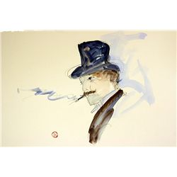 Original Watercolor on Paper After Lautrec - Man With Cigar