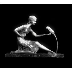 Original Fine Silver Sculpture - Girl with Parrot by Chiparus