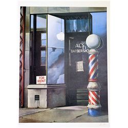 David Mann Signed and Numbered Lithograph - Al's Barbershop