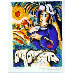 Hand Signed and Numbered Original Lithograph by Zamy Steynovitz - The Flutist