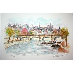 Pont Neuf- Signed Lithograph - Hutchet