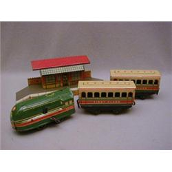 A BOXED BRIMTOY TRAIN SET, comprising stre...