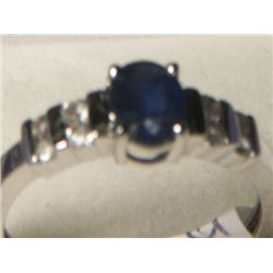 MADAGASCAR BLUE SAPPIRE WHITE TOPAZ RING SIZE 7