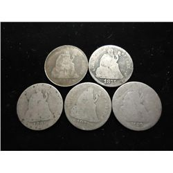 5 ASSORTED SEATED LIBERTY DIMES