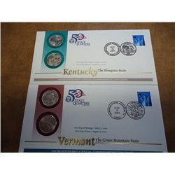 2 US MINT 50 STATE QUARTERS FDC'S (KY, VE)