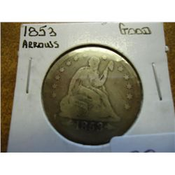1853 WITH ARROWS SEATED LIBERTY QUARTER