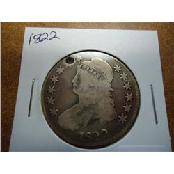 1822 BUST HALF DOLLAR (HOLED)