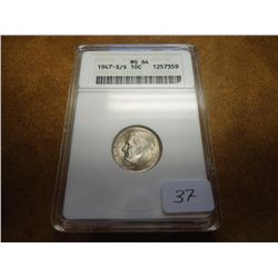 1947-S/S ROOSEVELT DIME ANACS MS64